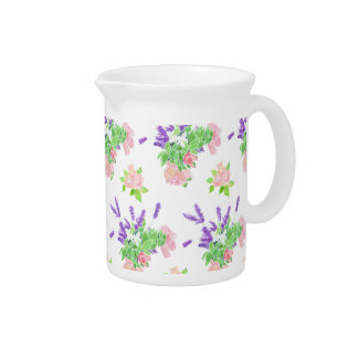 Nostalgic Lavender, Pink Roses and Mock Orange Pitcher