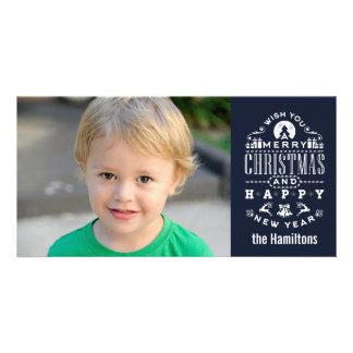 Nostalgic Merry Christmas BLUE typography Card