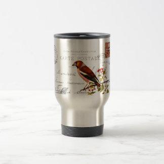 Nostalgic motive with bird travel mug