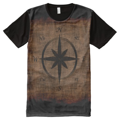 Nostalgic old compass rose design all over print t shirt for Vista print tee shirt