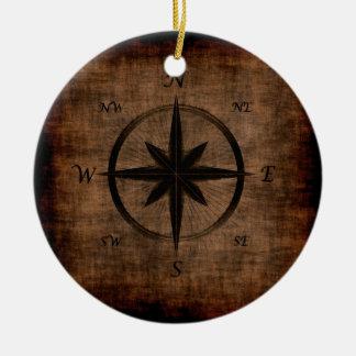 Nostalgic Old Compass Rose Design Ceramic Ornament