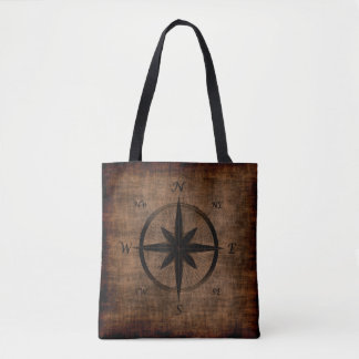 Nostalgic Old Compass Rose Design Tote Bag