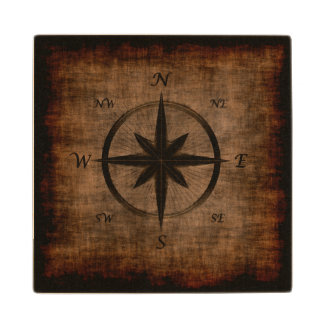 Nostalgic Old Compass Rose Wooden Coaster