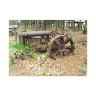 Nostalgic old tractor canvas print