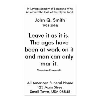 Nostalgic Open Road Funeral Prayer Card Vertical