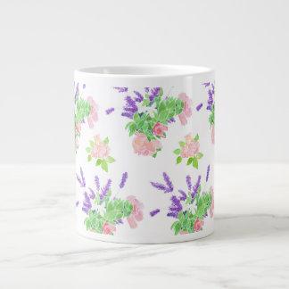 Nostalgic Pink Roses, Mock Orange Blossom, Lavende Large Coffee Mug