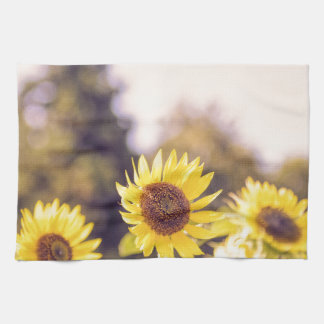 Nostalgic sunflower field towel