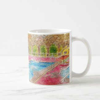 Nostalgic Swimming Pool Scene on Coffee Mug