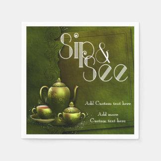 Nostalgic Tea Time Sip & See Baby Party Napkin Paper Napkin