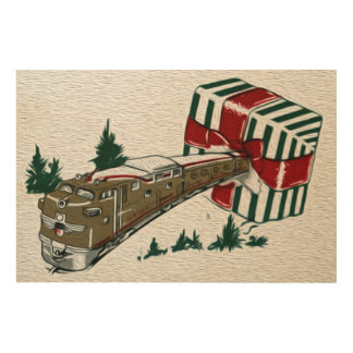 Nostalgic Union Pacific Train Christmas Scene Art