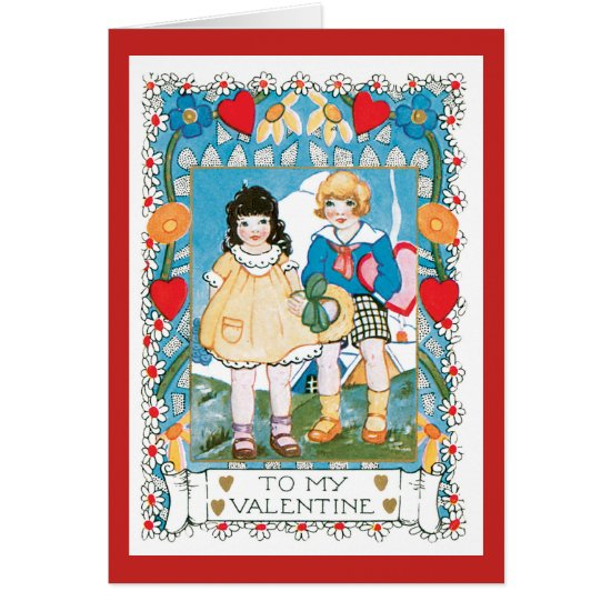 Nostalgic Valentine Two Children Hearts and Flower Card