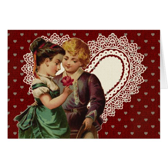 Nostalgic Valentine With Children and Lace Heart Card
