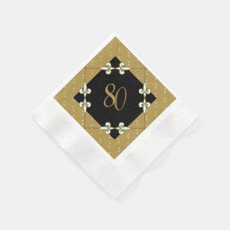 Nostalgic Vintage Art Nouveau 80th Birthday Paper Napkin