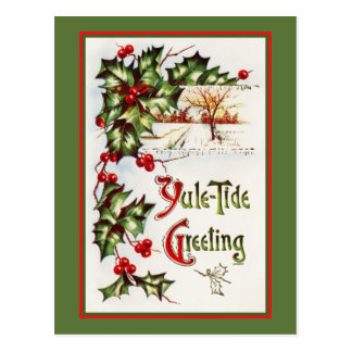 Nostalgic Yule Tide Greeting with Holly Postcard
