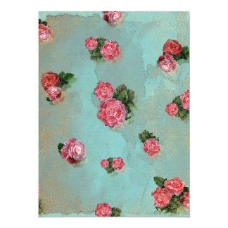 Nostalic rosado azul floral de los rosas de la