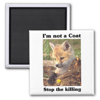 Not A Coat-Fox 2 Inch Square Magnet