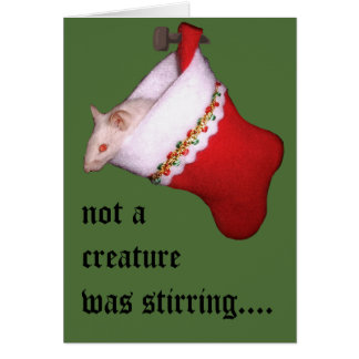 """""""Not A Creature..."""" Mouse in Christmas Stocking Greeting Card"""