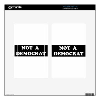 Not a Democrat (round, white text) Decal For Kindle Fire