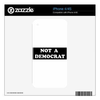Not a Democrat (round, white text) iPhone 4 Decals