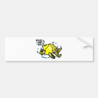 Not a Happy Bunny funny cute fish cartoon Bumper Sticker