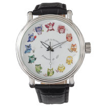 Not a morning person rainbow owls wrist watch