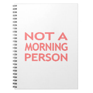 NOT A MORNING PERSON - strips - red and white. Notebook