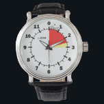 "(Not a Real) Altimeter Face Watch<br><div class=""desc"">Altimeter clock face appearance, calibrated for 12, 000 feet of free fall. The danger zone is marked-off in yellow and red, with the last thousand feet by hundreds in the countdown to zero. This is not a real altimeter, the hands move clockwise, but the hours between midnight and 3 AM...</div>"