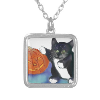 Not a very Scary Halloween Pumpkin Silver Plated Necklace
