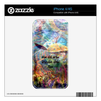 Not All Those Who Wander Inspirational Quote Skin For The iPhone 4