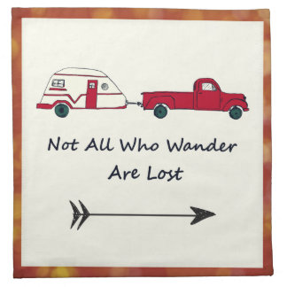 Not All Who Wander Are Lost Quote Trailer Caravan Napkin