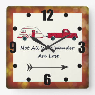 Not All Who Wander Are Lost Quote Trailer Caravan Square Wall Clock