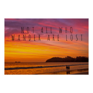 Not all who wander travel quote poster