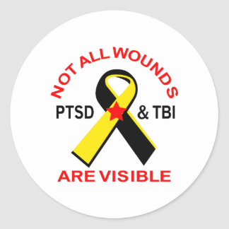 NOT ALL WOUNDS ARE VISIBLE CLASSIC ROUND STICKER