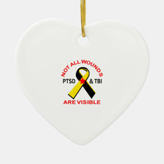 NOT ALL WOUNDS ARE VISIBLE Double-Sided HEART CERAMIC CHRISTMAS ORNAMENT