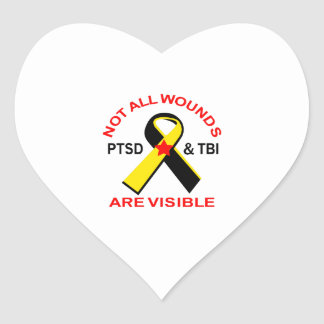NOT ALL WOUNDS ARE VISIBLE HEART STICKER
