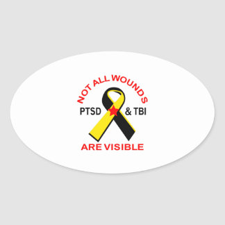 NOT ALL WOUNDS ARE VISIBLE OVAL STICKER