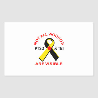 NOT ALL WOUNDS ARE VISIBLE RECTANGULAR STICKER