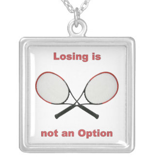 Not an Option Tennis Square Pendant Necklace