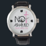 "&quot;Not Ashamed&quot; bible verse encouragement Watch<br><div class=""desc"">(NOT ASHAMED ) Inspired by bible verse Romans 1:16 &quot;For I am not ashamed of the gospel,  because it is the power of God that brings salvation to everyone who believes: first to the Jew,  then to the Gentile.&quot; Perfect way to proclaim God&#39;s word.  This item can be customized.</div>"