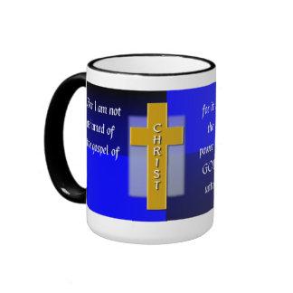Not Ashamed Christian Bible Verse Men's Coffee Ringer Coffee Mug
