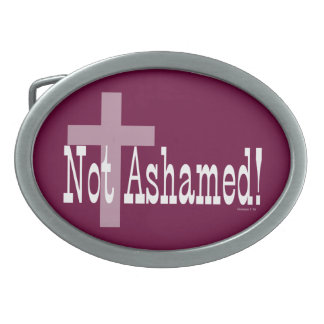 Not Ashamed! Romans 1:16 (with Cross) Oval Belt Buckle