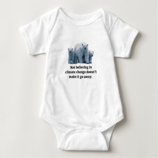 Not believing in climate change baby bodysuit