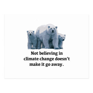 Not believing in climate change postcard