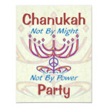 """Not By Might Chanukah Party Invitations 4.25"""" X 5.5"""" Invitation Card"""