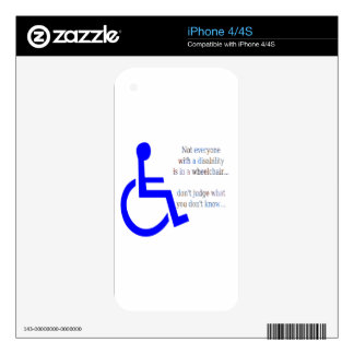 Not Everyone with a Disability is in a Wheelchair Decals For iPhone 4