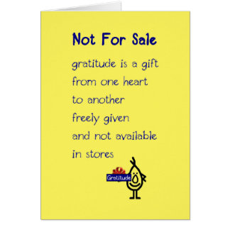 Not For Sale - a funny thank you poem Card