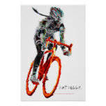 Not Frilly.  Female Cyclist & Flames Poster