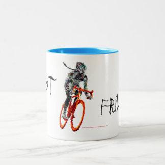 Not Frilly.  Female Cyclist & Flames Two-Tone Coffee Mug