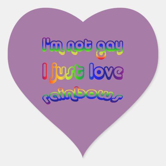 Not Gay But Love Rainbows Heart Sticker