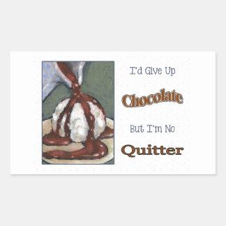 Not Giving Up Chocolate: Funny: Original Art Rectangular Sticker